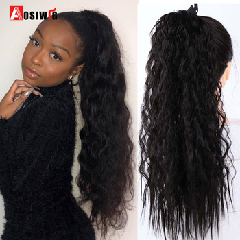 AOSI 22 18  Long Afro Curly Synthetic Drawstring Ponytail Hairpieces Women Fake Pony Tail Hair Extension Clip Heat Resistant charming shaggy tacos curly fashion highlight heat resistant synthetic long ponytail for women