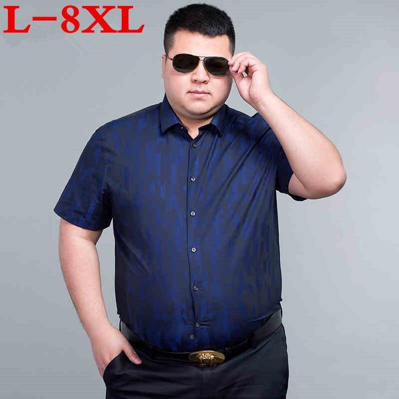 New Plus Size 8XL 7XL 6XL 5XL  Summer Men Shirt Dress Camisa Social Brand Clothing Men Shirts Loose Fit Short Sleeves Shirts