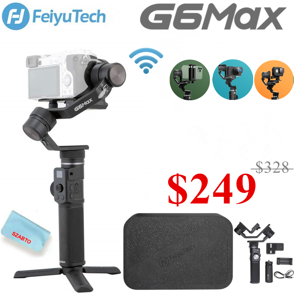 FeiyuTech Feiyu G6 Max <font><b>3</b></font>-Axis Handheld Camera Gimbal Stabilizer for Mirrorless camera Pocket Camera GoPro Hero <font><b>7</b></font> 6 5 Smartphone image