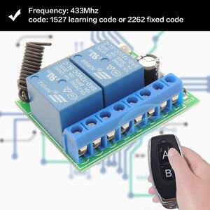 Image 3 - 433MHz télécommande universelle sans fil DC 12V 2CH rf relais récepteur et émetteur pour porte de Garage universelle et contrôle de porte