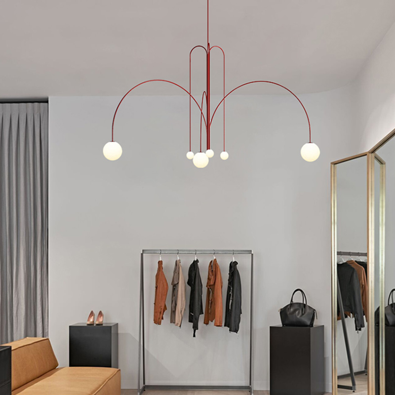 Luz de luxo sala estar jantar lustre minimalista arte salão exposição sala estudo iluminação criativo linha geométrica luz - 4
