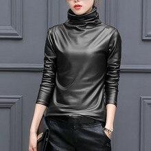 Fashion Faux Leather T-Shirt Plus Size Casual Winter Ladies Turtleneck Basic Tops Female Wo