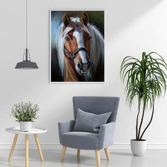 Фото diy horse 5d diamond painting full round drill animal embroidery цена