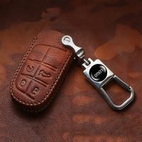 Hight qualidade camada superior de couro caso capa chave do carro para jeep renegado 2014 2015 grand cherokee chrysler 300c série lâmina keycase|Estojo de chaves p/ carro| |  -