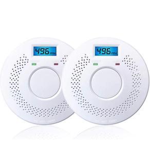 Детектор угарного газа и дыма Сигнализация с ЖК-цифровым дисплеем автоматическая проверка, кнопка тревоги