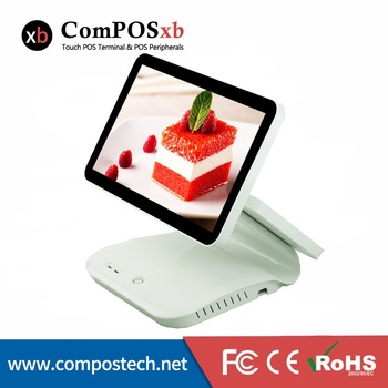 pos system LCD capacitive touch screen dual pos terminal for sale