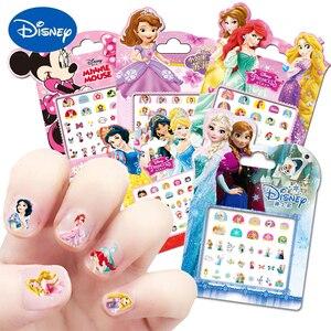 Princesa elsa anna maquiagem adesivos de unhas brinquedos disney neve branca sophia mickey minnie crianças dos desenhos animados boneca figura ação