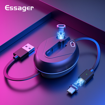 Essager 3 In 1 Retractable Magnetic Micro USB Cable For iPhone Android Mobile Phone Type C Fast Charging Magnetic Data Wire Cord
