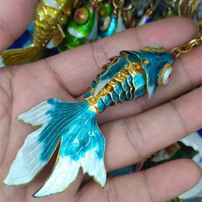 Эмаль 7,5 качели животное Золотая Рыбка брелок рыба брелки китайская перегородчатая эмаль брелки для ключей автомобиля сумка аксессуары этнический подарок - Цвет: Небесно-голубой