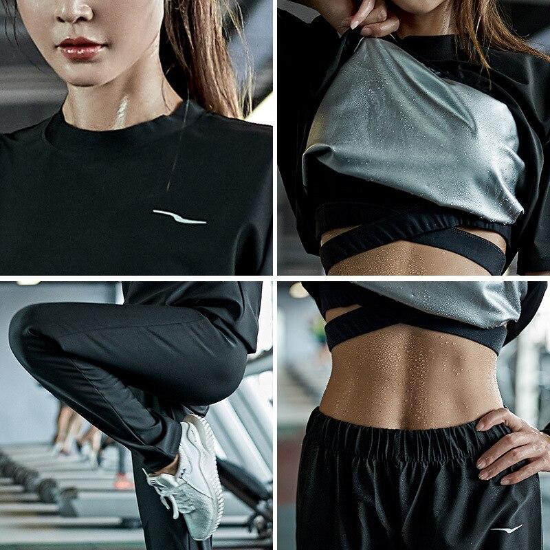Image 3 - Комплект одежды для спортзала, женский свитер с капюшоном, спортивная одежда для бега, фитнеса, спортивный костюм для тренировок, потери веса, потоотделение, сауныНаборы для тренировок и упражнений   -