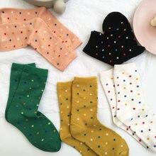 2021 outono e inverno novo ins na moda cor polka dot feminino todas as meias de algodão tubo meias atacado 5 pares/peça