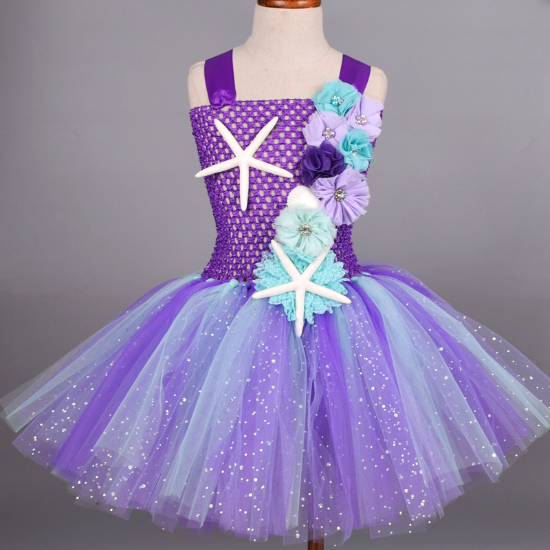 Glitter Purple Mermaid Tutu Dress With Headband Sets Baby Birthday Party Costume Floral Princess Tulle Dress Cosplay Clothes