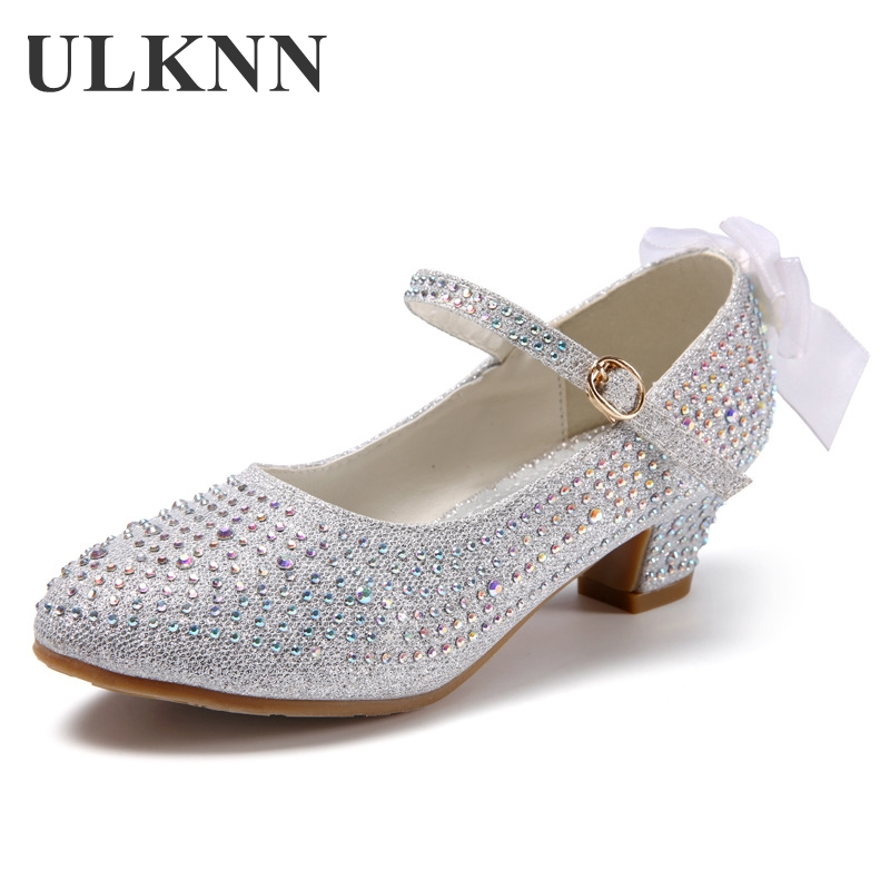 ULKNN Shoes For Grirls Gold Silver Pink Round Head Daily Fiber Children's High-heeled Princess School Performance Shoes Pearl