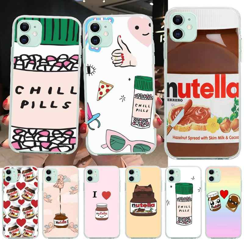 HPCHCJHM Funny Chills Pills Chocolate Nutella Coque Phone Case Capa for iPhone 11 pro XS MAX 8 7 6 6S Plus X 5S SE 2020 XR cover