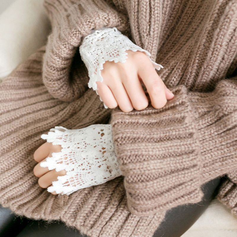 Literary Fresh Women Floral Lace Horn Cuff Imitation Pearl Button Fake Sleeve CORD