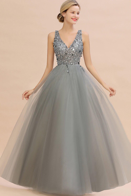 Luxo contas de prata cristais tule vestido de noite 2020 robe de soiree sexy v voltar lantejoulas vestidos de baile noite - 3