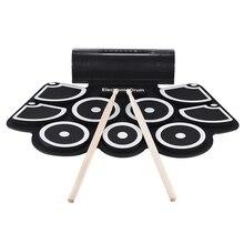 Портативный свернутый Электронный USB MIDI набор барабанов 9 подушечек Встроенные динамики педали для ног барабанные палочки USB кабель для практики