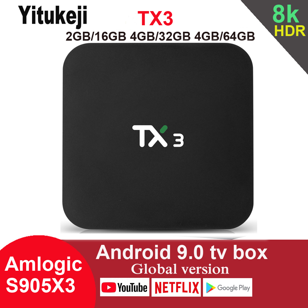 TX3 Android 9.0 TV Box Amlogic S905X3 4GB 64GB 8K 2.4G 5G Wifi Bluetooth Youtube HDR Google Play Netfilx Set Top Box