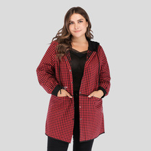 Fashion Plus Size Autumn Winter Cotton Coat For Women Long Sleeve Pocket Hooded Plaid Loose Jacket Ladies Casual Clothes 2020 plaid loose fitting pocket design coat