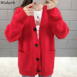 Woherb Black Knitted Sweater Women V Neck Long Sleeve Solid Color Cardigan Vintage Harajuku Casual Loose Tops Fashion New 90728 3