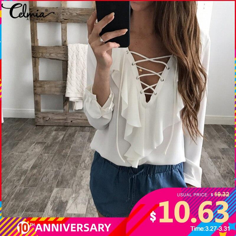 Celmia Womens Summer Blouse 2020 Chiffon Blouse  Top Lace Up V Neck Ruffle Long Sleeve Shirt Casual Plus Size Blusa Feminina