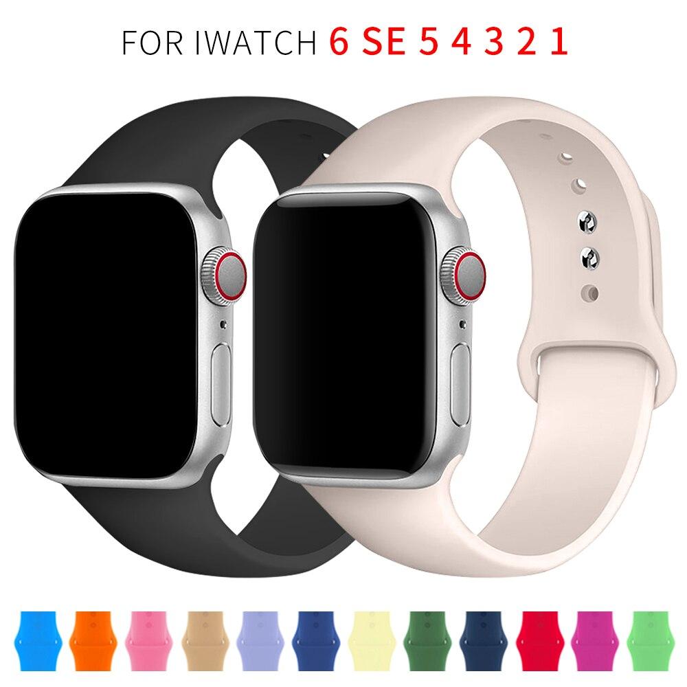 Мягкая силиконовая лента для наручных часов Apple Watch серии 6 SE 5 4 3 2 1 44 мм 40 мм резиновый ремешок для наручных часов iWatch, версия 4/5, 42 мм, 38 мм, брас...