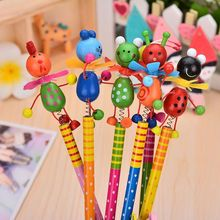 Wooden Windmill Cartoon Animals Pencil Kawaii Student Pencils Children Kids Personality Gift Art Supplies