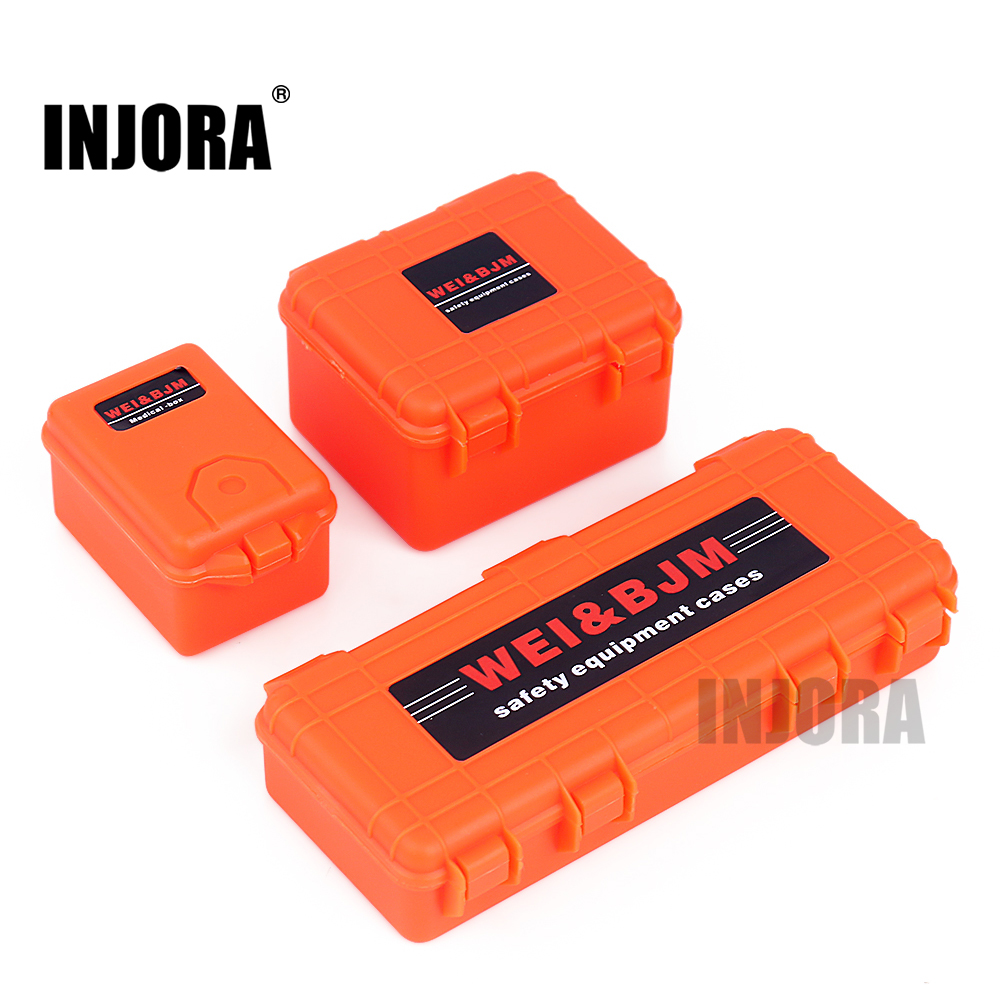 INJORA 3Pcs Plastic Storage Box Decoration Tool For 1/10 RC Crawler Car Axial SCX10 90046 Traxxas TRX-4 TRX-6 MST Recat