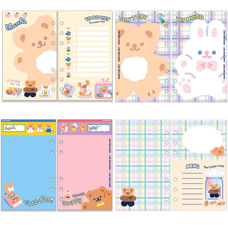 50 Sheets A6 Loose Leaf kawaii Bear Rabbit Notebook Filler Paper Refill Binder Index Inner Pages Todolist Daily Planner Agenda