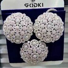GODKI 特別提供シルバー花 2 個女性婚約高級 AAA 立方ジルコンイヤリングネックレスジュエリーセット