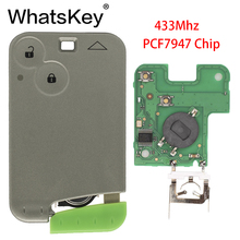 лучшая цена WhatsKey 433Mhz PCF7947 Chip Remote Smart Car Key For Renault Laguna Espace Smart Card Remote