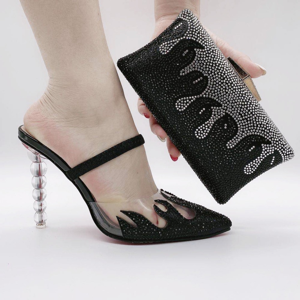 Latest Black Italian Soft Shoes and Bag Set for Party Women Wedding Shoes With Bag Bride Crystal High Quality