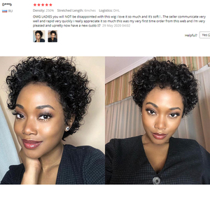Image 5 - Pixie Cut Wig Curly Front Lace Human Hair Short Wigs Blunt Cut Bob Wigs Remy Brazilian Hair Glueless Lace Frontal Wig For Women