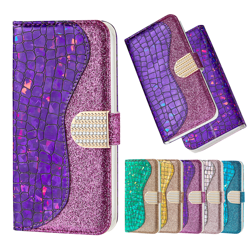 Shining Diamond PU Leather <font><b>Case</b></font> For <font><b>Samsung</b></font> <font><b>A10</b></font> A20 A30 A40 A50 A70 Note 10 S10 M10 M20 J310 J530 A5 2017 Book Flip Wallet Cover image