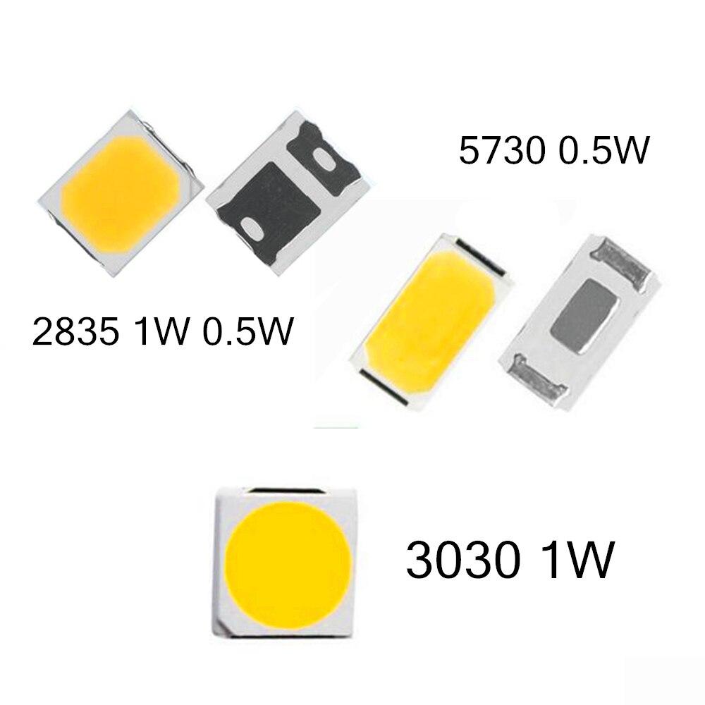 100PCS SMD LED 2835 3030 5730 Chips Hight Power 0.5W 1W 3V 6V 9V 18V 30 120LM Ultra Bright Beads Lamp Light Emitting Diode Lamp