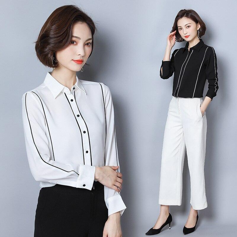 Chemise Femme Manches Longues 2019 Nouveau Style Noir Et Blanc avec Motif L'occupation Lo Convention Chemise Grande Taille top en mousseline Base - 2