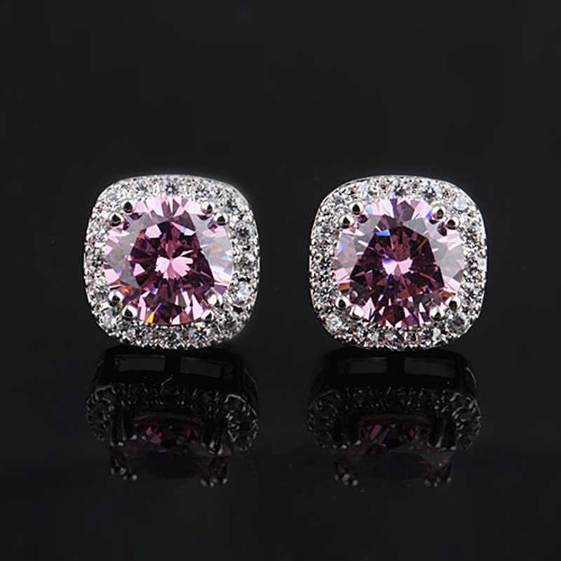 Luxo feminino rosa azul roxo quadrado parafuso prisioneiro brinco aaa zircon prata cor brincos de cristal para moda feminina jóias