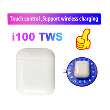 i100 tws bluetooth 5.0 earphone Wireless headsets touch control Support wireless charging pk i20 i30 i60 i80 for IOS/Android