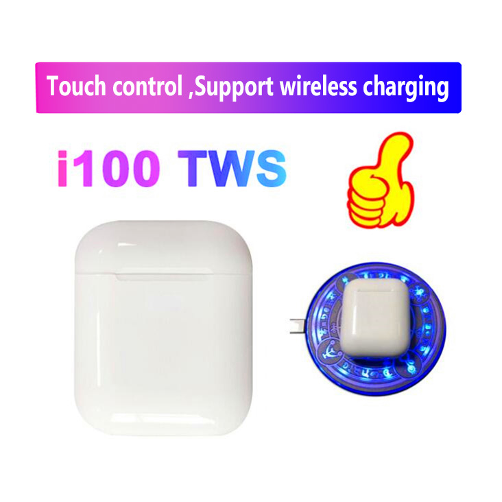 i100 tws bluetooth 5.0 earphone Wireless headsets touch control Support wireless charging pk i20 i30 i60 i80 tws for IOS/Android