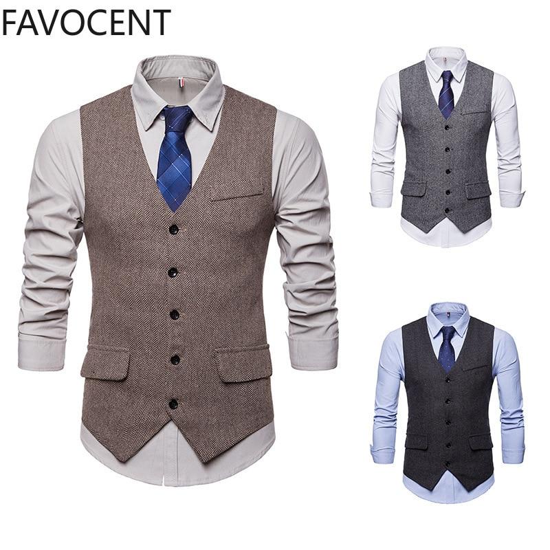Smart Casual Suit Vest Men Business Vest Waistcoat Men Fashion Formal Dress Vest Suit Single Breasted Classic V-neck Wedding Top