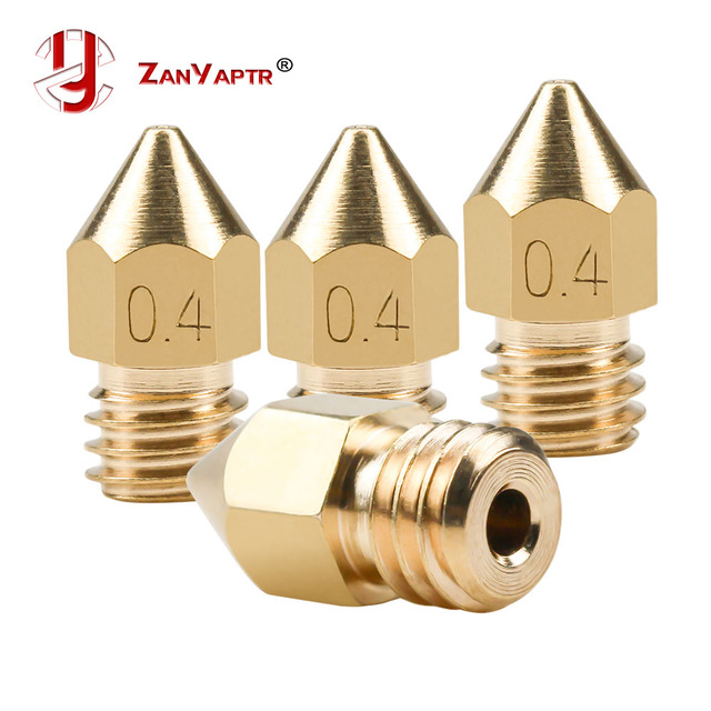 5Pcs 3D Printer Brass Copper Nozzle Mixed Sizes 0.2/0.3/0.4/0.5 Extruder Print Head For 1.75MM MK8 Makerbot