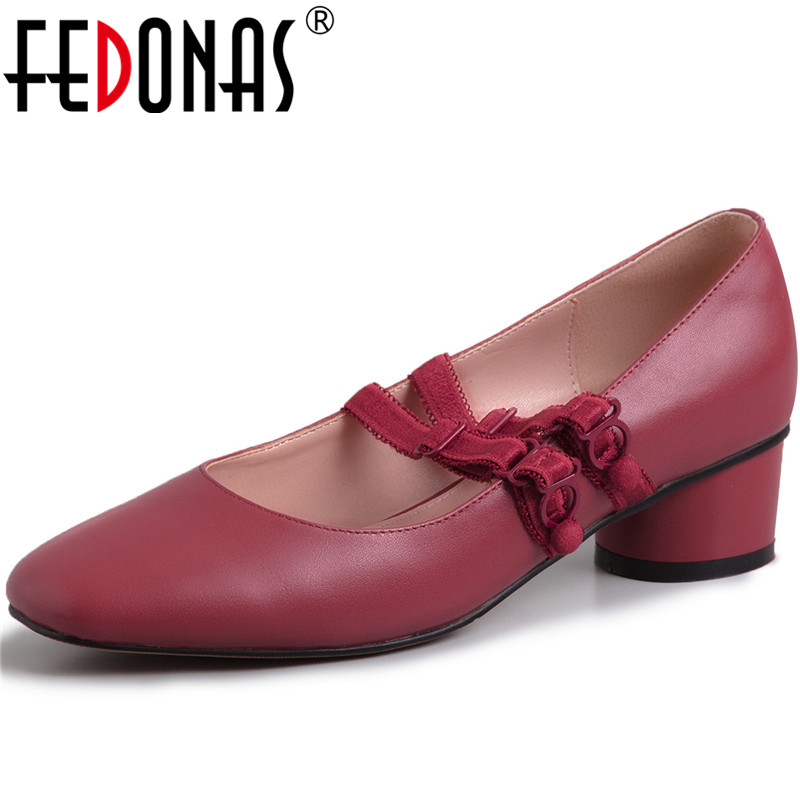 FEDONAS Brand Women Square Heels Shoes Party Prom Shoes Round Toe Sweet Shoes Spring Summer Genuine Leather New Shoes Women