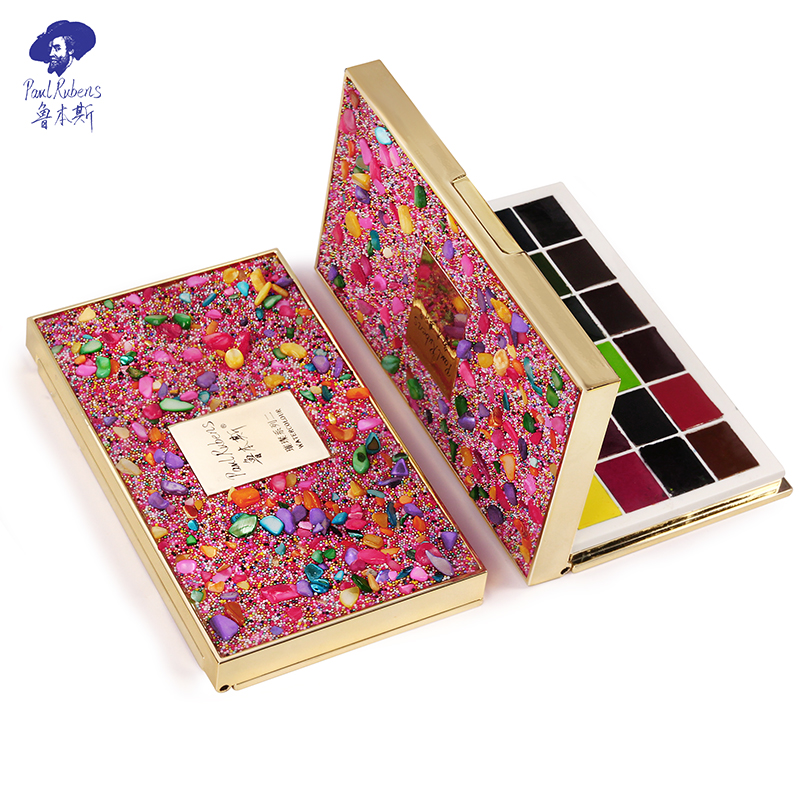 Rubens Watercolor Paint Artist 24 Colors Bright Gem Box Portable Solid Cakes Travel Pocket Watercolor Set For Painting Designing