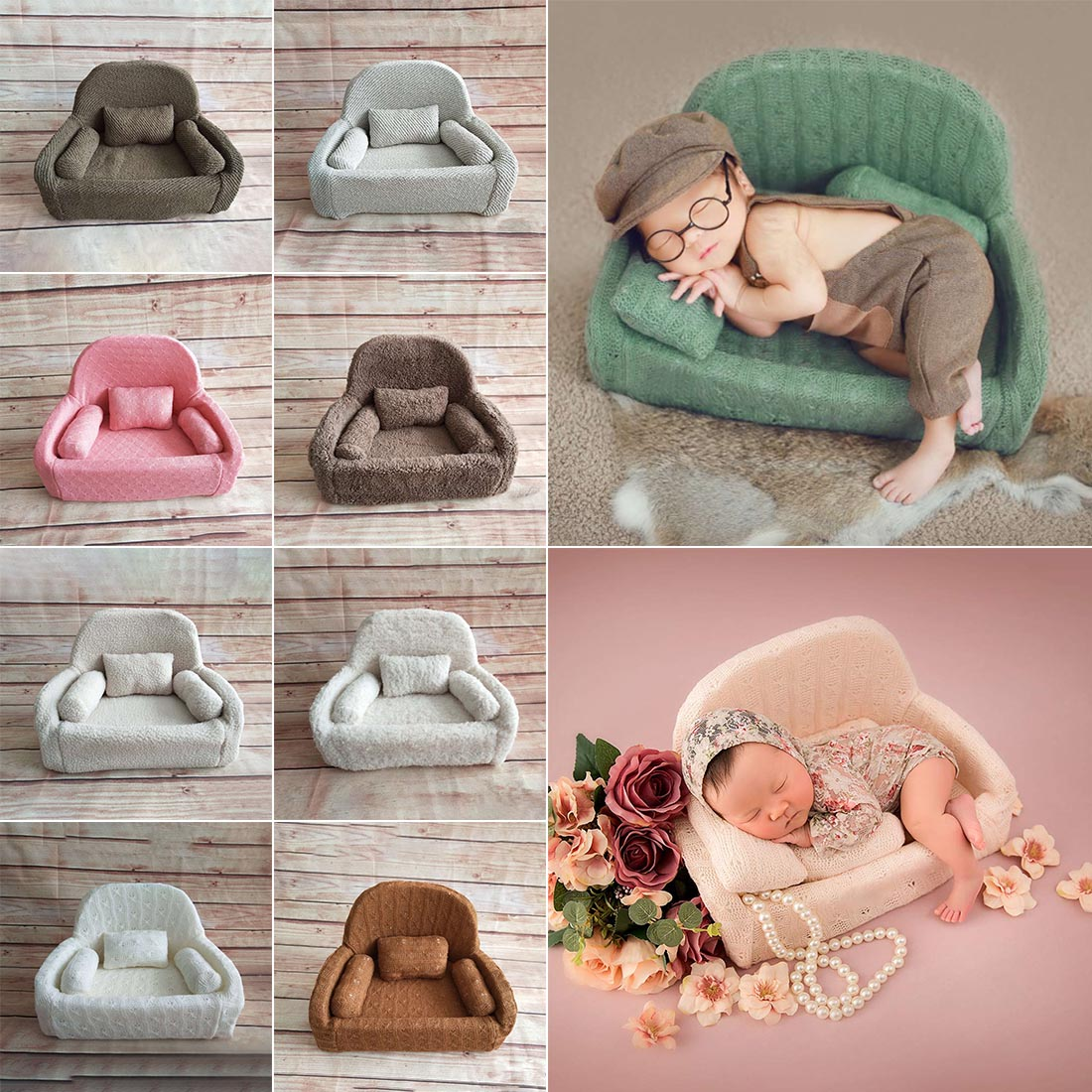 Baby Posing Sofa Pillow Set Chair Decoration Baby Photography Accessories Infant Studio Shooting Props Newborn Photography Props