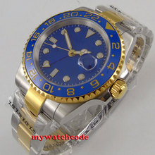 40mm bliger blue dial sapphire glass date golden case GMT automatic mens watch B145 40mm parnis black dial sapphire glass gmt date window automatic mens watch p877