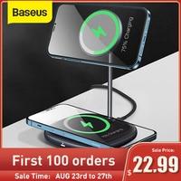 Baseus-cargador inalámbrico magnético para teléfono, soporte de escritorio para iPhone 12 Pro Max, Airpods, Xiaomi y Samsung