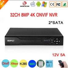 Gesicht Erkennung 12V 5A Hi3536C XMeye Überwachung Video Recorder 8mp 4K 32CH 32 Kanal H.265 + 2 * SATA IP Onvif WIFI CCTV DVR NVR