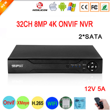 Yüz algılama 12V 5A Hi3536C XMeye gözetim Video kaydedici 8mp 4K 32CH 32 kanal H.265 + 2 * SATA IP Onvif WIFI CCTV DVR NVR