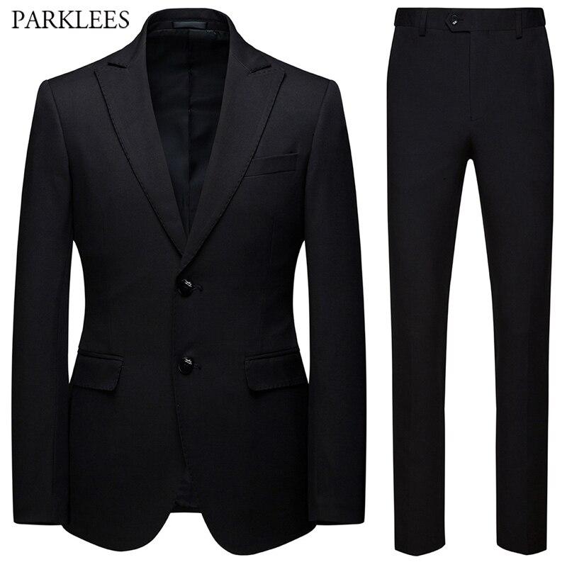 Men Black Suit 2019 Fashion Wedding Suits For Men 2 Pieces Slim Fit Two Button Suit Mens Party Prom Tuxedo Suit Male Costume
