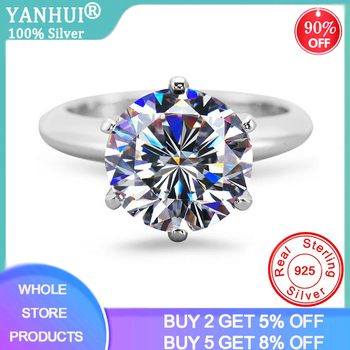 95% OFF! With Certificate Solitaire Ring 2.0ct Zirconia Diamond Ring Original 925 Sterling Silver Ring Wedding Jewelry for Women 95% off with certificate luxury solitaire 2 0ct zirconia diamond ring 925 solid silver 18k white gold wedding rings for women